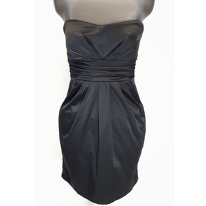 Strapless Little Black Mini Dress w Ribbon Sash